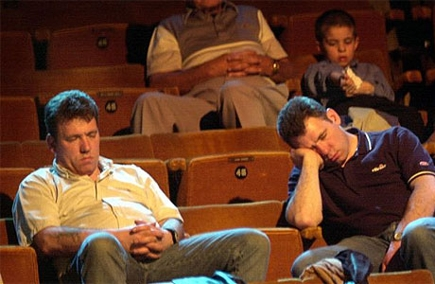 image sentence: The play was so bland that even the handful of audience remaining was bored to death.