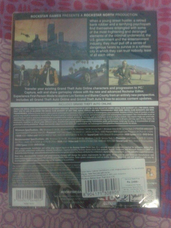 back image cover of gta v pc box package