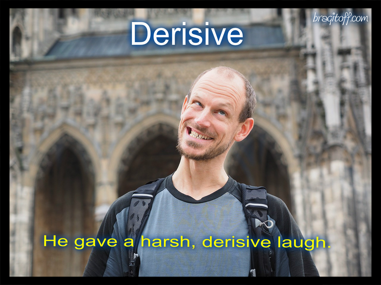 derisive laugh sentence image for the word visual meaning definition dictionary a mad man laughing