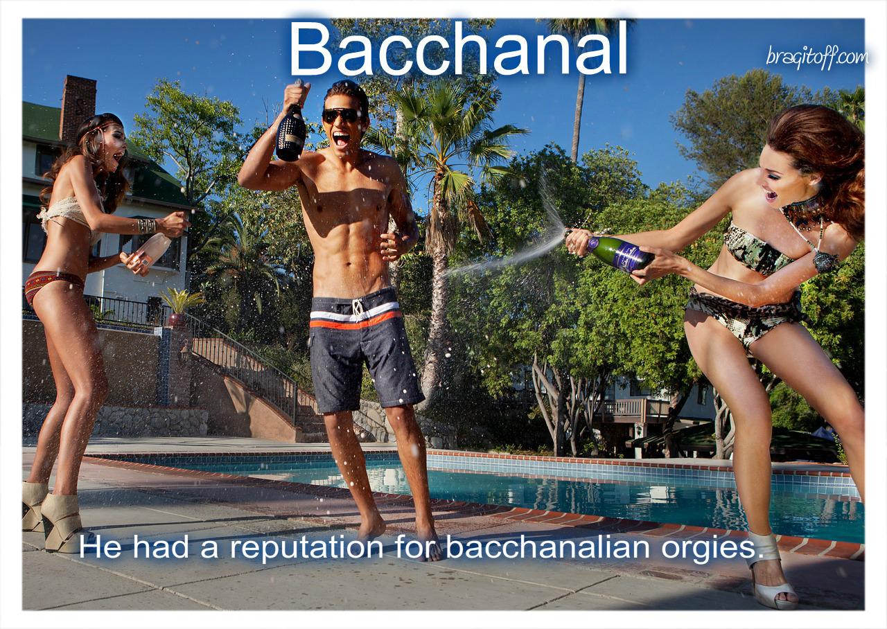 guy partyin with two girls in bikini by the pool