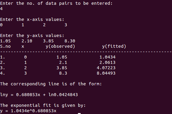 exponential fit c++ output