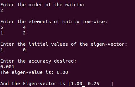 c++ program eigen value eigen vector eigenvalue eigenvector iterative method numerical analysis