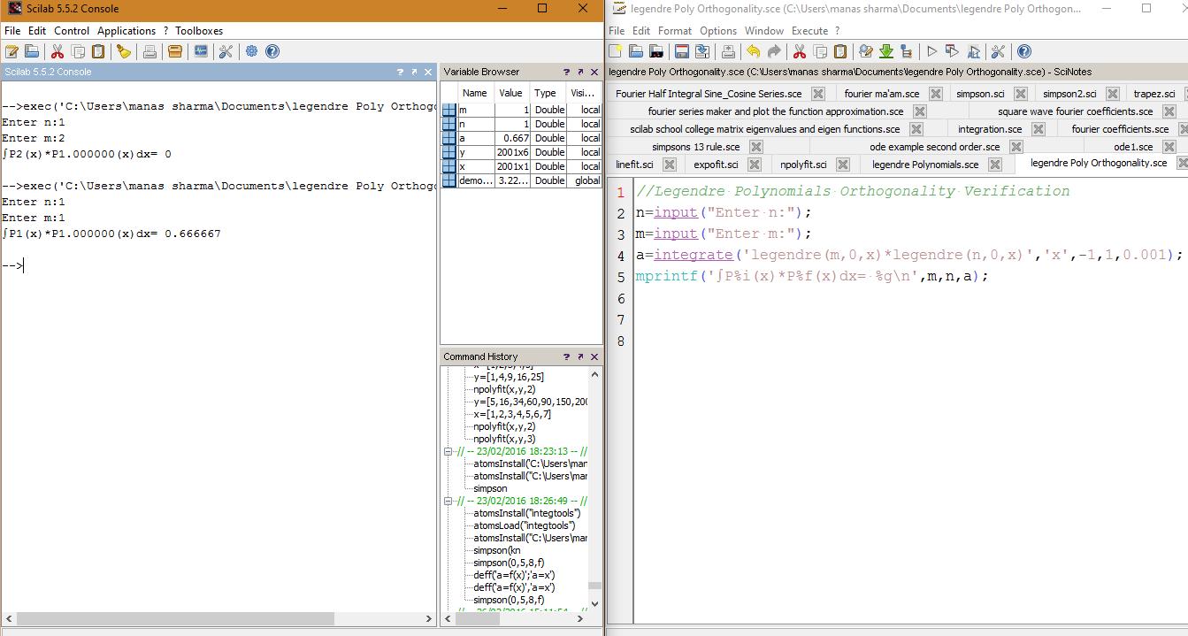 scilab code for legendre functions