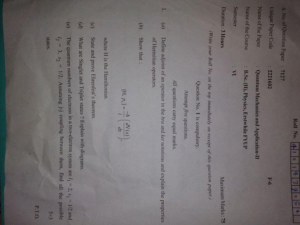 Quantum Mechanics and Applications II paper DU physics honors pg 3