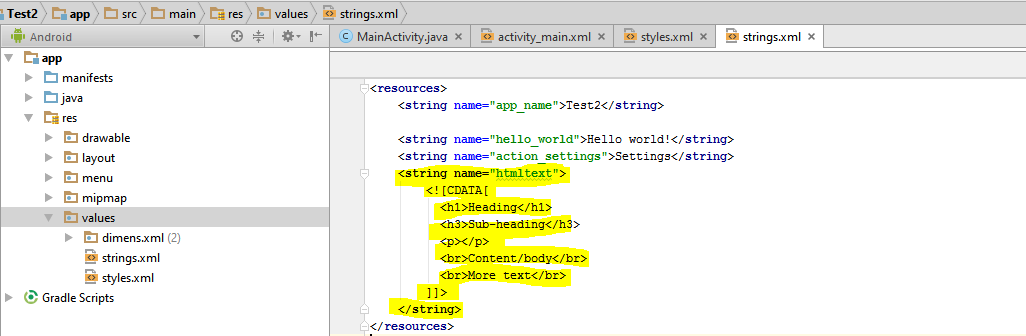 strings.xml with the required HTML string resource